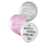 PartyXplosion Ballonnen De wereld is zoveel leuker met jou 36 cm 6 stuks