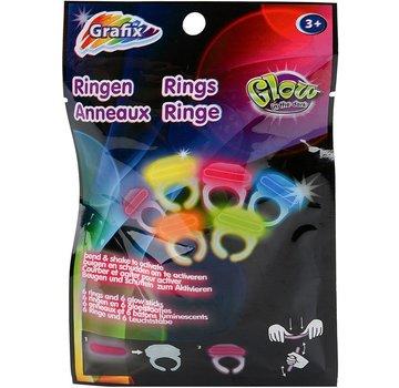 "Grafix Mini Breaklights Ringen - Snap lights Rings / 1,5"" -3,83 cm 6 stuks multi"