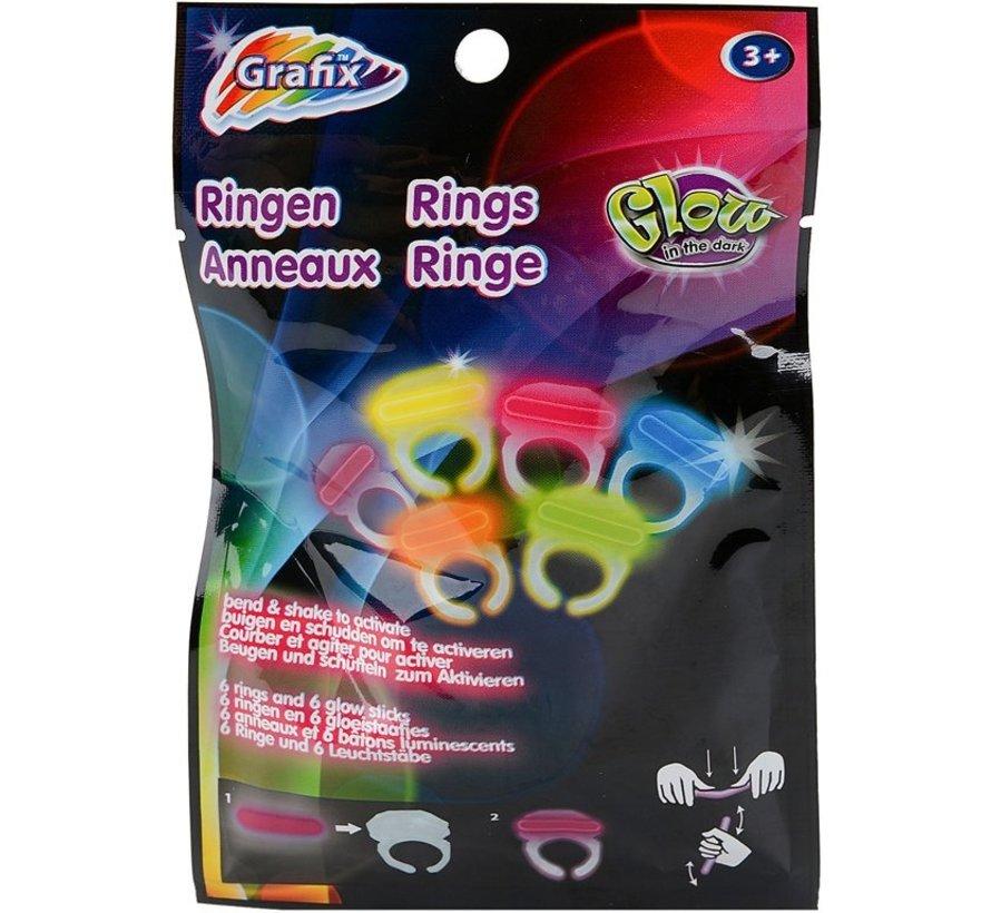 "Mini Breaklights Ringen - Snap lights Rings / 1,5"" -3,83 cm 6 stuks multi"
