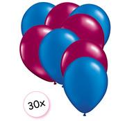 Joni's Winkel Ballonnen Blauw & Fuchsia 30 stuks 27 cm