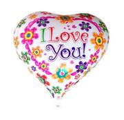 Folat Folieballon I love you bloemen 45 cm