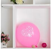 Joni's Winkel Ballonnen hart roze-wit 8 stuks 30 cm