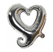 Joni's Winkel Folieballon Fantasie hart zilver 45 cm