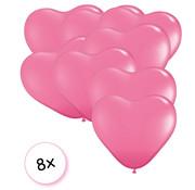 Joni's Winkel Ballonnen Hartvormig Fluor roze 8 stuks 9 cm
