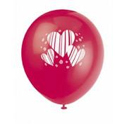 UNIQUE Ballonnen hart 8 stuks 30 cm