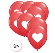Joni's Winkel Ballonnen rood hartje wit 8 stuks 30 cm
