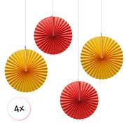 Joni's Winkel Waaiers Oranje & Rood 4 stuks 30 cm