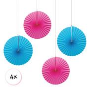 Joni's Winkel Waaiers Roze & Licht blauw 4 stuks 30 cm