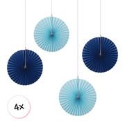 Joni's Winkel Waaiers Marine blauw & Baby Blauw 4 stuks 30 cm