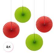 Joni's Winkel Waaiers Rood & Licht groen 4 stuks 30 cm