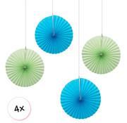Joni's Winkel Waaiers Mint & Licht blauw 4 stuks 30 cm