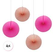 Joni's Winkel Waaiers Roze & Zalm 4 stuks 30 cm