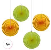 Joni's Winkel Waaiers Oranje & Geel 4 stuks 30 cm