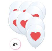 Joni's Winkel Ballonnen wit hartje rood 8 stuks 30 cm