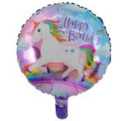 Joni's Winkel Folieballon Happy birthday eenhoorn rond 45x45cm