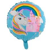 Joni's Winkel Folieballon Eenhoorn regenboog kasteel Blauw 45 x 45 cm