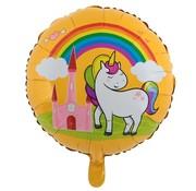 Joni's Winkel Folieballon Eenhoorn regenboog kasteel Oranje 45 x 45 cm
