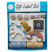 Joni's Winkel Cadeau labels Eenhoorn Blauw 46 delig