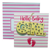 Wenskaart Hello Baby Girl met hanger