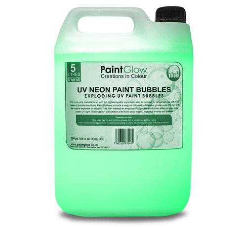 PaintGlow Bellenblaas vloeistof Fluor Groen 5 Liter