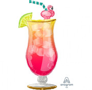 Anagram Super Shape Folieballon Flamingo Cocktail 50 x 104 cm