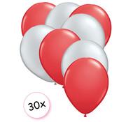 Joni's Winkel Ballonnen Rood & Zilver 30 stuks 27 cm