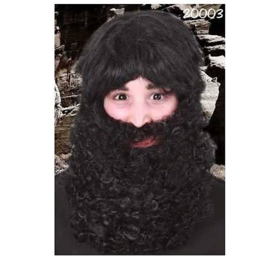 Baard met snor Pim zwart