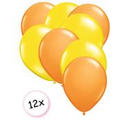 Joni's Winkel Ballonnen Oranje & Geel 12 stuks 27 cm