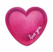 Borden Hart roze Love 6 stuks 16 cm