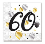 Procos Servetten 60 jaar 20 stuks 33 x 33 cm