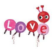 Anagram Super Shape Folieballon Love Bug 139 x 106 cm
