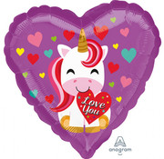 Anagram Standard Shape Folieballon Love You Unicorn 43 x 43 cm