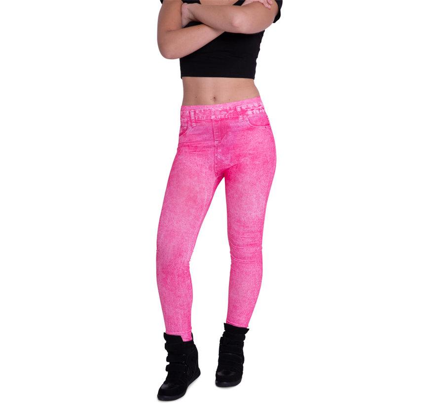 Denim legging Neon Roze Maat M