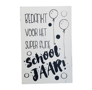 """Postkaart Hout """" Bedankt voor .... Schooljaar """""""
