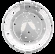 Joni's Winkel Bordjes Zilver Champagne 8 stuks 18 cm