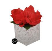 """Cadeau doosjes met roos """"Rood"""" 6 stuks"""