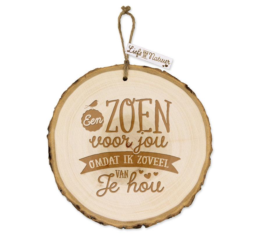 """Boomschijf Hanger """"Zoen voor jou"""""""