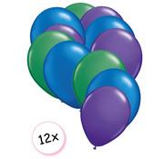 Joni's Winkel Ballonnen Groen, Blauw & paars 12 stuks 27 cm