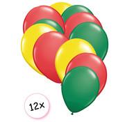 Joni's Winkel Ballonnen Geel, Rood & Groen 12 stuks 27 cm