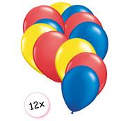 Joni's Winkel Ballonnen Geel, Rood & Blauw 12 stuks 27 cm