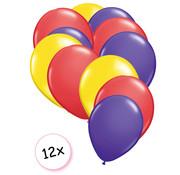 Joni's Winkel Ballonnen Geel, Rood & Paars 12 stuks 27 cm
