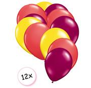 Joni's Winkel Ballonnen Geel, Rood & Fuchsia 12 stuks 27 cm
