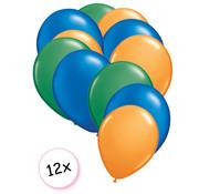Joni's Winkel Ballonnen Groen, Blauw & Oranje 12 stuks 27 cm