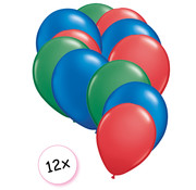 Joni's Winkel Ballonnen Groen, Blauw & Rood 12 stuks 27 cm
