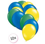 Joni's Winkel Ballonnen Groen, Blauw & Geel 12 stuks 27 cm