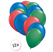 Joni's Winkel Ballonnen Rood, Blauw & Groen 12 stuks 27 cm
