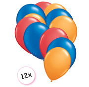 Joni's Winkel Ballonnen Rood, Blauw & Oranje 12 stuks 27 cm