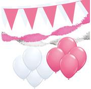 """Joni's Winkel Versiering pakket M """"Wit & Roze"""" - ballonnen / slingers en vlaggenlijnen"""