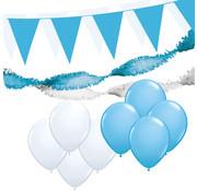 "Joni's Winkel Versiering pakket XL ""Wit-Licht blauw"" - ballonnen / slingers en vlaggenlijnen"