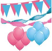 """Joni's Winkel Versiering pakket XL """"Roze-Licht blauw"""" - ballonnen / slingers en vlaggenlijnen"""